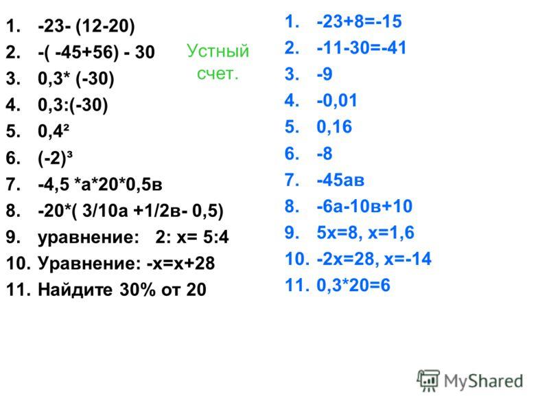Устный счет. 1.-23- (12-20) 2.-( -45+56) - 30 3.0,3* (-30) 4.0,3:(-30) 5.0,4² 6.(-2)³ 7.-4,5 *а*20*0,5в 8.-20*( 3/10а +1/2в- 0,5) 9.уравнение: 2: х= 5:4 10.Уравнение: -х=х+28 11.Найдите 30% от 20 1.-23+8=-15 2.-11-30=-41 3.-9 4.-0,01 5.0,16 6.-8 7.-4