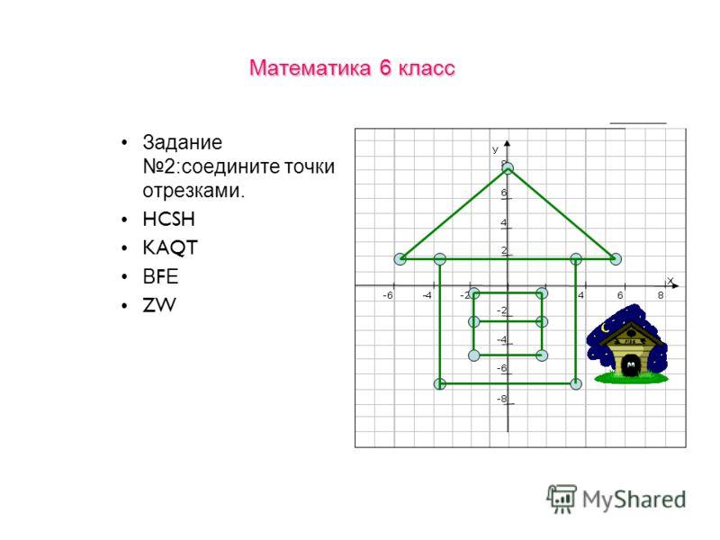 Математика 6 класс Задание 2:соедините точки отрезками. HCSH KAQT В F Е ZW