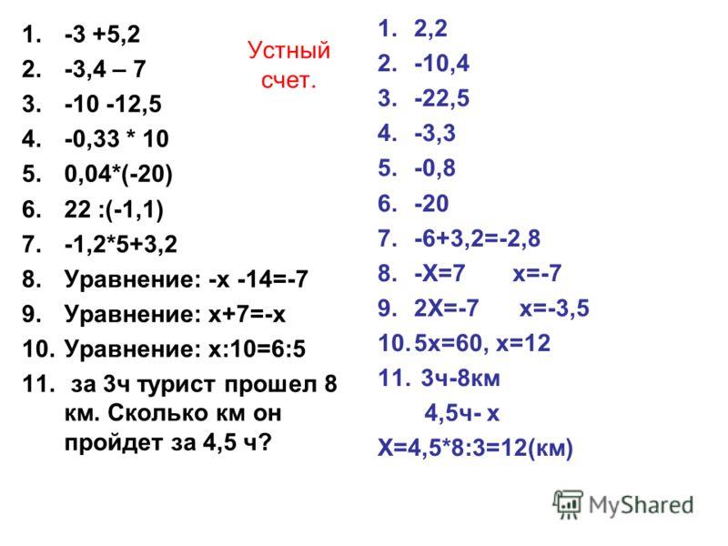 Устный счет. 1.-3 +5,2 2.-3,4 – 7 3.-10 -12,5 4.-0,33 * 10 5.0,04*(-20) 6.22 :(-1,1) 7.-1,2*5+3,2 8.Уравнение: -х -14=-7 9.Уравнение: х+7=-х 10.Уравнение: х:10=6:5 11. за 3ч турист прошел 8 км. Сколько км он пройдет за 4,5 ч? 1.2,2 2.-10,4 3.-22,5 4.