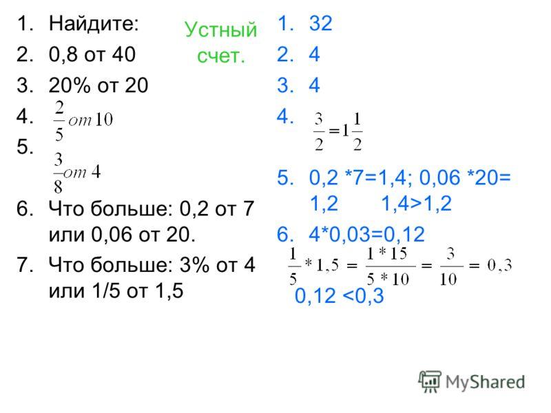 Устный счет. 1.Найдите: 2.0,8 от 40 3.20% от 20 4. 5. 6.Что больше: 0,2 от 7 или 0,06 от 20. 7.Что больше: 3% от 4 или 1/5 от 1,5 1.32 2.4 3.4 4. 5.0,2 *7=1,4; 0,06 *20= 1,2 1,4>1,2 6.4*0,03=0,12 0,12