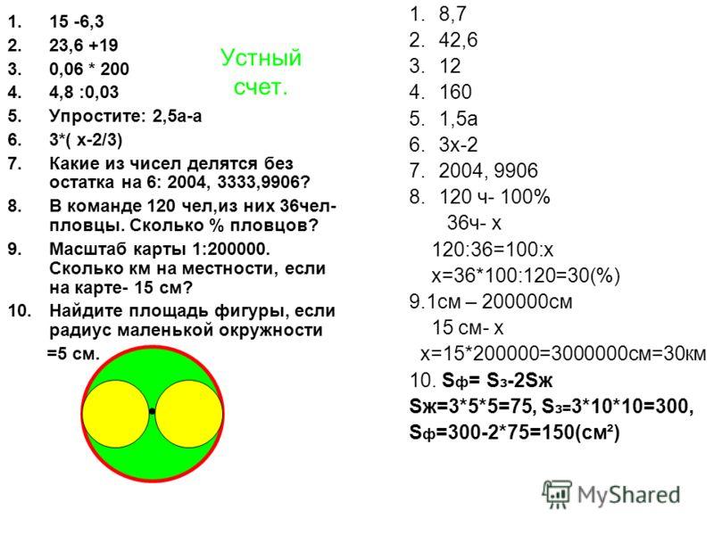 Устный счет. 1.15 -6,3 2.23,6 +19 3.0,06 * 200 4.4,8 :0,03 5.Упростите: 2,5а-а 6.3*( х-2/3) 7.Какие из чисел делятся без остатка на 6: 2004, 3333,9906? 8.В команде 120 чел,из них 36чел- пловцы. Сколько % пловцов? 9.Масштаб карты 1:200000. Сколько км