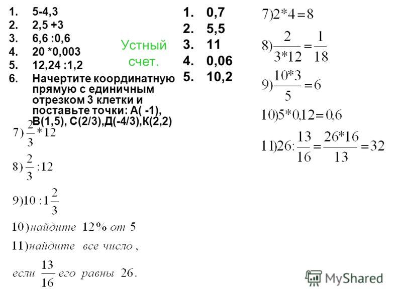 Устный счет. 1.5-4,3 2.2,5 +3 3.6,6 :0,6 4.20 *0,003 5.12,24 :1,2 6.Начертите координатную прямую с единичным отрезком 3 клетки и поставьте точки: А( -1), В(1,5), С(2/3),Д(-4/3),К(2,2) 1.0,7 2.5,5 3.11 4.0,06 5.10,2