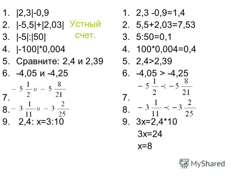 Устный счет. 1.|2,3|-0,9 2.|-5,5|+|2,03| 3.|-5|:|50| 4.|-100|*0,004 5.Сравните: 2,4 и 2,39 6.-4,05 и -4,25 7. 8. 9. 2,4: х=3:10 1.2,3 -0,9=1,4 2.5,5+2,03=7,53 3.5:50=0,1 4.100*0,004=0,4 5.2,4>2,39 6.-4,05 > -4,25 7. 8. 9.3х=2,4*10 3х=24 х=8