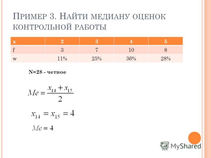 П РИМЕР 3. Н АЙТИ МЕДИАНУ ОЦЕНОК КОНТРОЛЬНОЙ РАБОТЫ x2345 f37108 w11%25%36%28% N=28 - четное