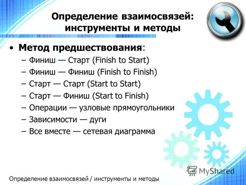 Определение взаимосвязей: инструменты и методы Метод предшествования: –Финиш Старт (Finish to Start) –Финиш Финиш (Finish to Finish) –Старт Старт (Start to Start) –Старт Финиш (Start to Finish) –Операции узловые прямоугольники –Зависимости дуги –Все