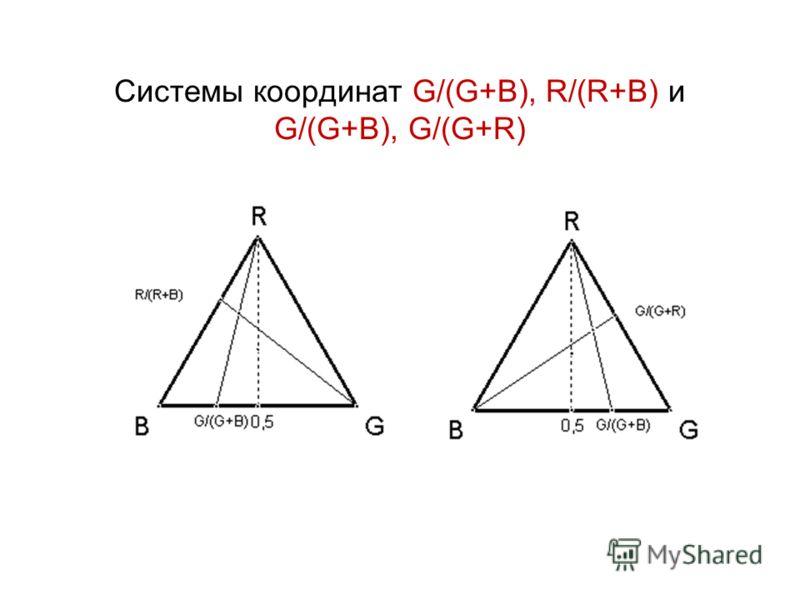 Системы координат G/(G+B), R/(R+B) и G/(G+B), G/(G+R)