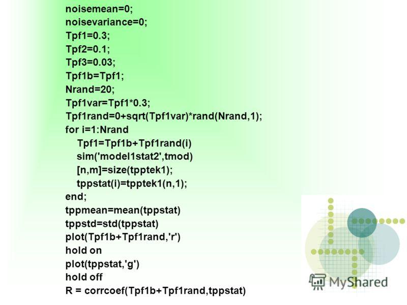 noisemean=0; noisevariance=0; Tpf1=0.3; Tpf2=0.1; Tpf3=0.03; Tpf1b=Tpf1; Nrand=20; Tpf1var=Tpf1*0.3; Tpf1rand=0+sqrt(Tpf1var)*rand(Nrand,1); for i=1:Nrand Tpf1=Tpf1b+Tpf1rand(i) sim('model1stat2',tmod) [n,m]=size(tpptek1); tppstat(i)=tpptek1(n,1); en