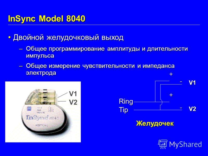 Двойной желудочковый выходДвойной желудочковый выход –Общее программирование амплитуды и длительности импульса –Общее измерение чувствительности и импеданса электрода Желудочек V1 V2 + -+- V1 V2 RingTip