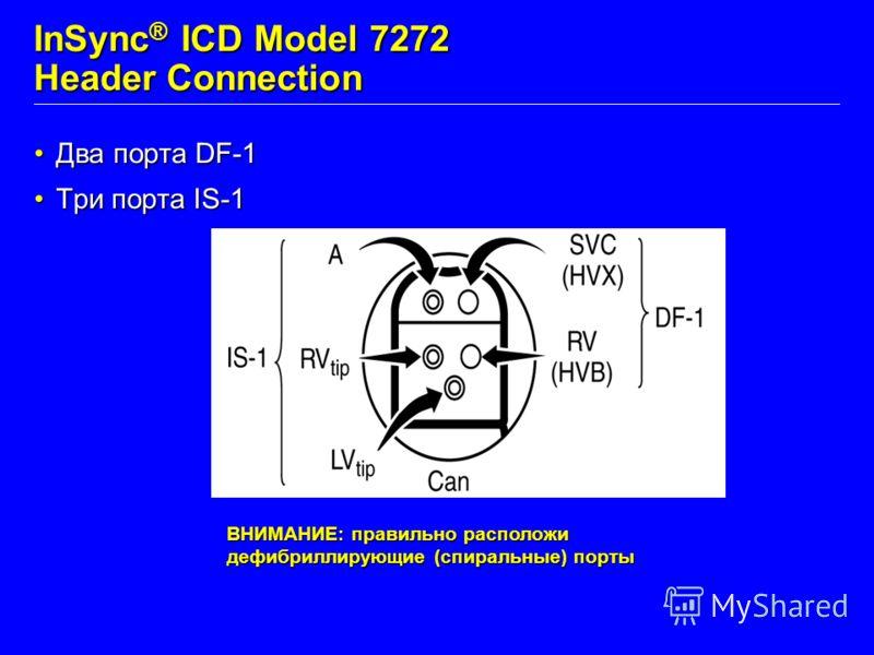 InSync ® ICD Model 7272 Header Connection Два порта DF-1Два порта DF-1 Три порта IS-1Три порта IS-1 ВНИМАНИЕ: правильно расположи дефибриллирующие (спиральные) порты