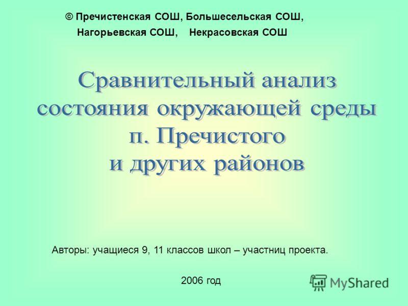 2006 год © Пречистенская СОШ, Большесельская СОШ, Нагорьевская СОШ, Некрасовская СОШ Авторы: учащиеся 9, 11 классов школ – участниц проекта.