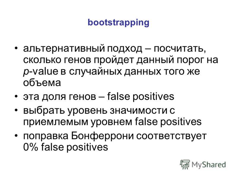 bootstrapping альтернативный подход – посчитать, сколько генов пройдет данный порог на p-value в случайных данных того же объема эта доля генов – false positives выбрать уровень значимости с приемлемым уровнем false positives поправка Бонферрони соот
