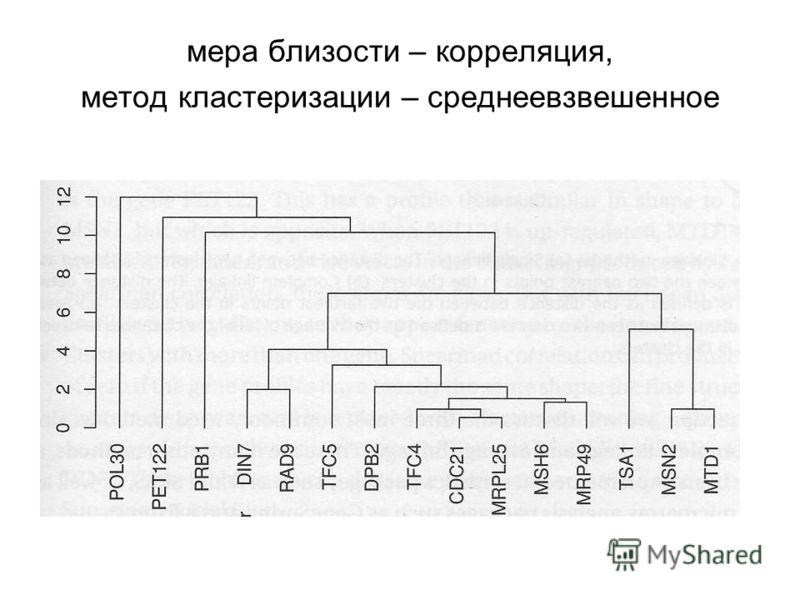 мера близости – корреляция, метод кластеризации – среднеевзвешенное
