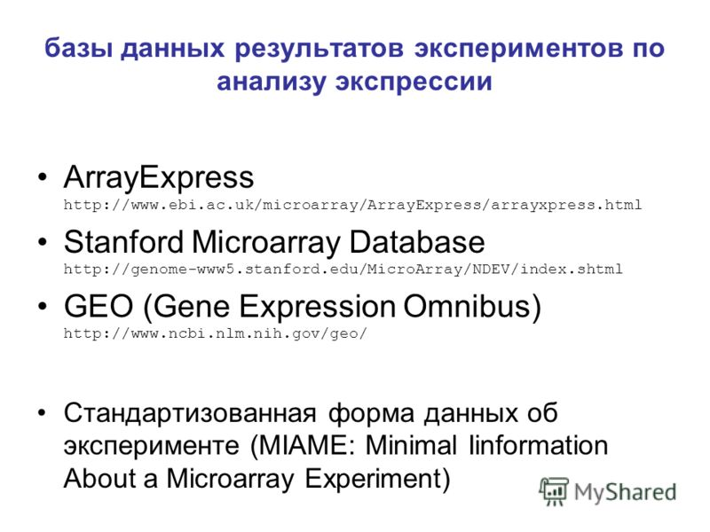 базы данных результатов экспериментов по анализу экспрессии ArrayExpress http://www.ebi.ac.uk/microarray/ArrayExpress/arrayxpress.html Stanford Microarray Database http://genome-www5.stanford.edu/MicroArray/NDEV/index.shtml GEO (Gene Expression Omnib