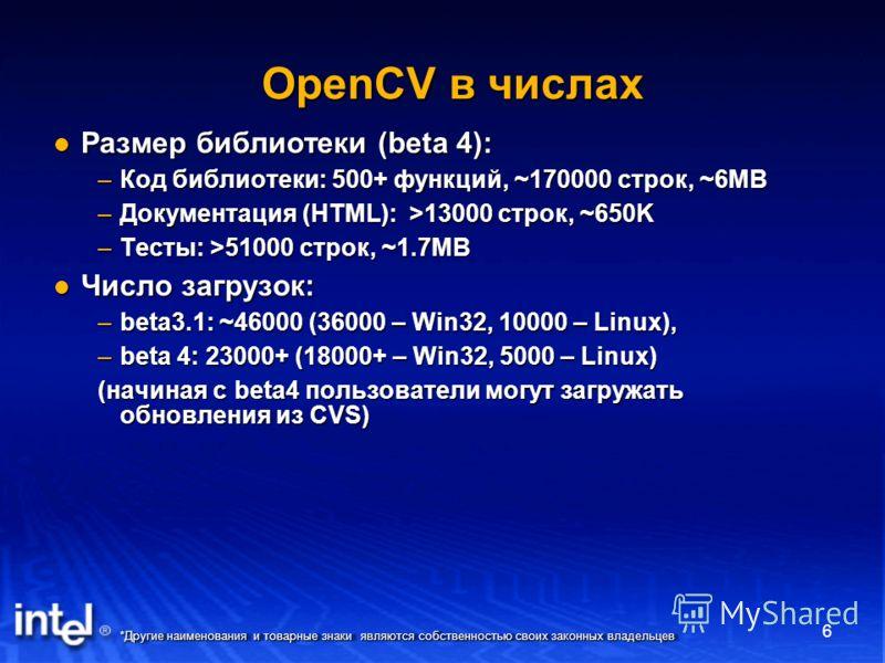 *Другие наименования и товарные знаки являются собственностью своих законных владельцев 6 OpenCV в числах Размер библиотеки (beta 4): Размер библиотеки (beta 4): –Код библиотеки: 500+ функций, ~170000 строк, ~6MB –Документация (HTML): >13000 строк, ~