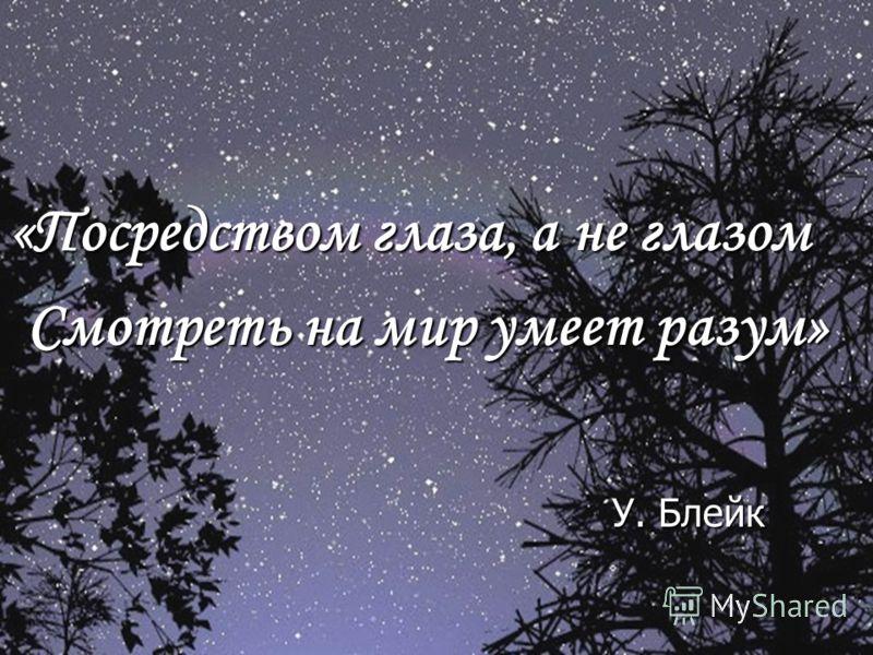 «Посредством глаза, а не глазом Смотреть на мир умеет разум» У. Блейк У. Блейк