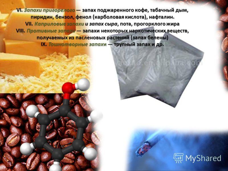 VI. Запахи пригорелого запах поджаренного кофе, табачный дым, пиридин, бензол, фенол (карболовая кислота), нафталин. VII. Каприловые запахи и запах сыра, пота, прогорклого жира VIII. Противные запахи запахи некоторых наркотических веществ, получаемых
