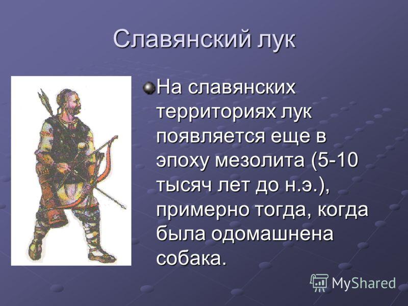 Славянский лук На славянских территориях лук появляется еще в эпоху мезолита (5-10 тысяч лет до н.э.), примерно тогда, когда была одомашнена собака.