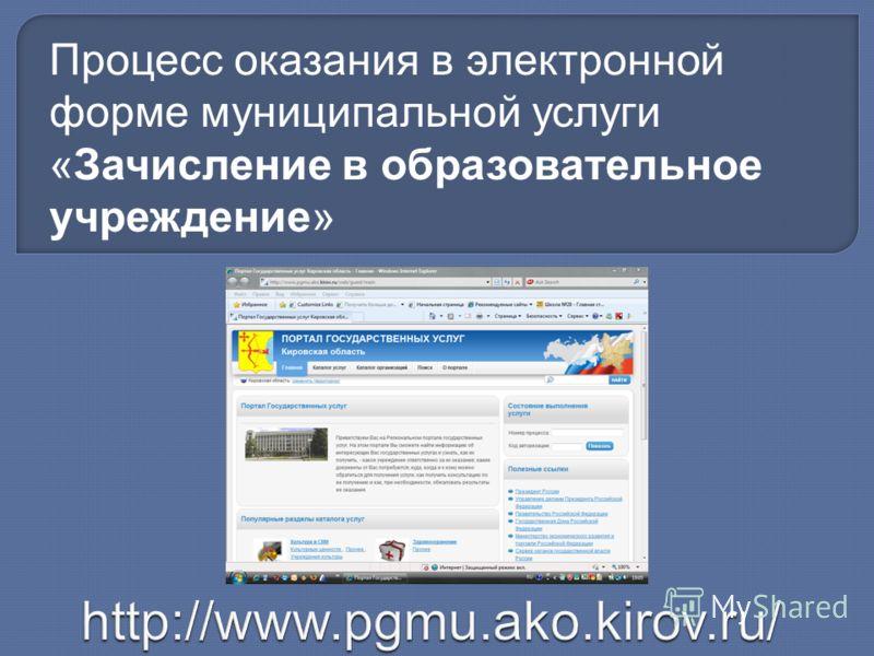 Процесс оказания в электронной форме муниципальной услуги «Зачисление в образовательное учреждение»