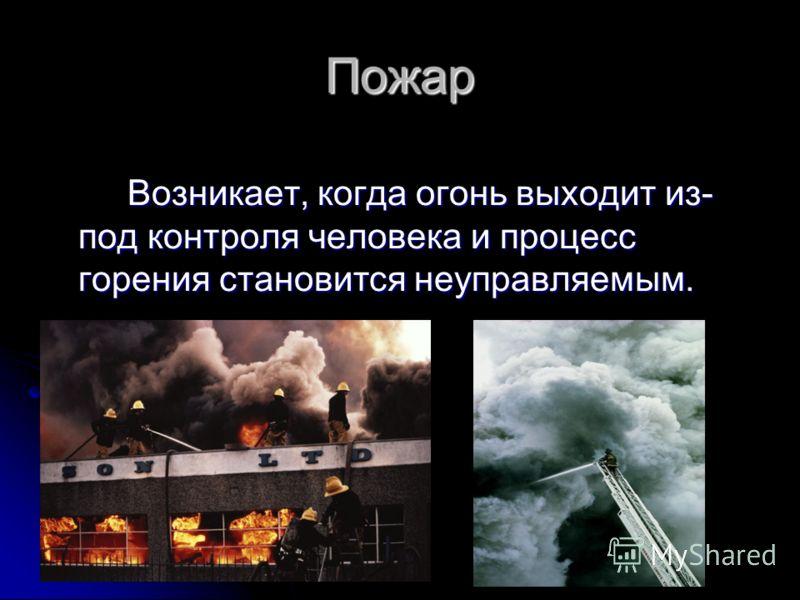 Пожар Возникает, когда огонь выходит из- под контроля человека и процесс горения становится неуправляемым. Возникает, когда огонь выходит из- под контроля человека и процесс горения становится неуправляемым.