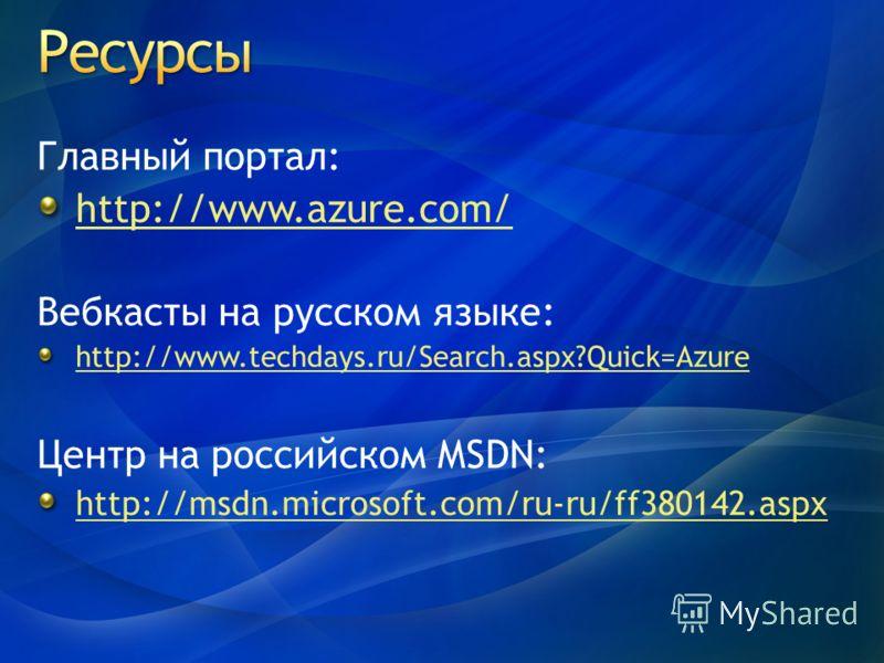 Главный портал: http://www.azure.com/ Вебкасты на русском языке: http://www.techdays.ru/Search.aspx?Quick=Azure Центр на российском MSDN: http://msdn.microsoft.com/ru-ru/ff380142.aspx