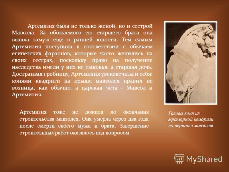 Артемизия была не только женой, но и сестрой Мавсола. За обожаемого ею старшего брата она вышла замуж еще в ранней юности. Тем самым Артемизия поступила в соответствии с обычаем египетских фараонов, которые часто женились на своих сестрах, поскольку