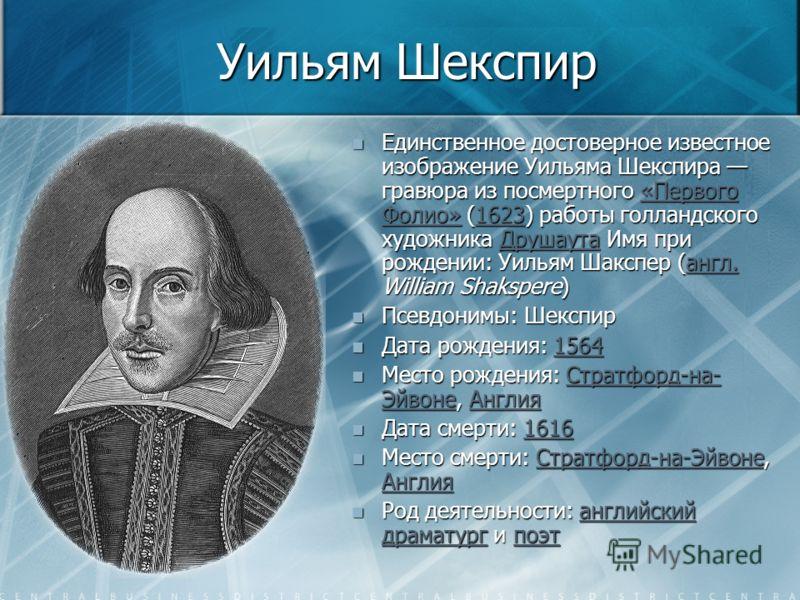 Уильям Шекспир Единственное достоверное известное изображение Уильяма Шекспира гравюра из посмертного «Первого Фолио» (1623) работы голландского художника Друшаута Имя при рождении: Уильям Шакспер (англ. William Shakspere)«Первого Фолио»1623Друшаутаа
