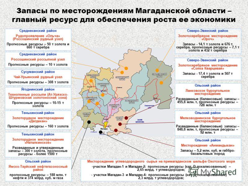 Запасы по месторождениям Магаданской области – главный ресурс для обеспечения роста ее экономики Ольский район Ланковское буроугольное месторождение Разведанные (балансовые) запасы – 455,8 млн. т, прогнозные ресурсы – 728 млн. т Ольский район Ямско-Т