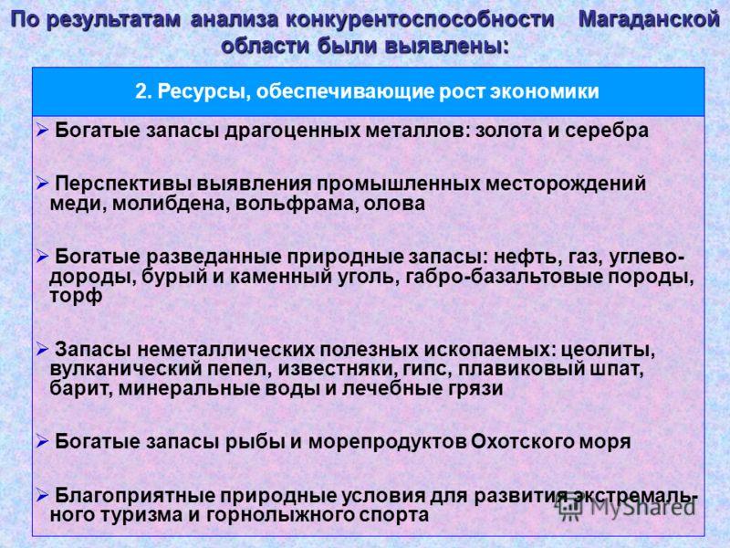 По результатам анализа конкурентоспособности Магаданской области были выявлены: Богатые запасы драгоценных металлов: золота и серебра Перспективы выявления промышленных месторождений меди, молибдена, вольфрама, олова Богатые разведанные природные зап
