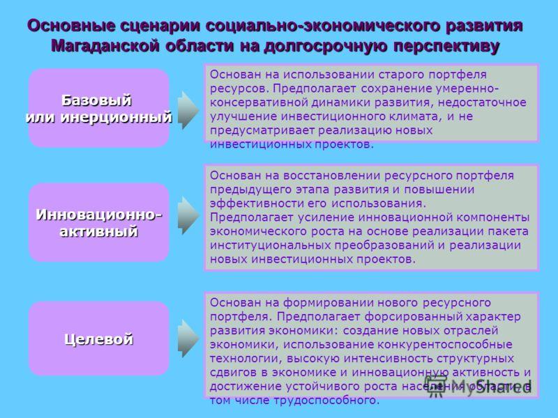 Основные сценарии социально-экономического развития Магаданской области на долгосрочную перспективу Основан на формировании нового ресурсного портфеля. Предполагает форсированный характер развития экономики: создание новых отраслей экономики, использ