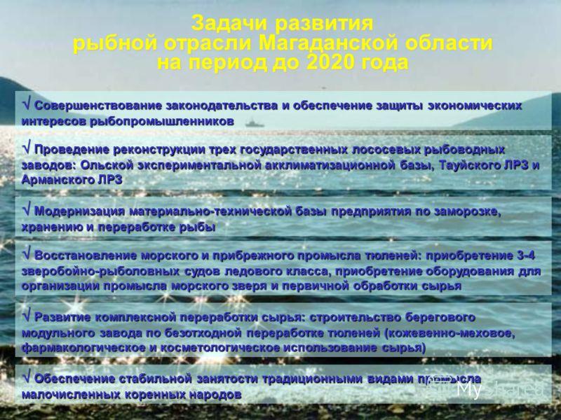 Задачи развития рыбной отрасли Магаданской области на период до 2020 года Совершенствование законодательства и обеспечение защиты экономических интересов рыбопромышленников Совершенствование законодательства и обеспечение защиты экономических интерес