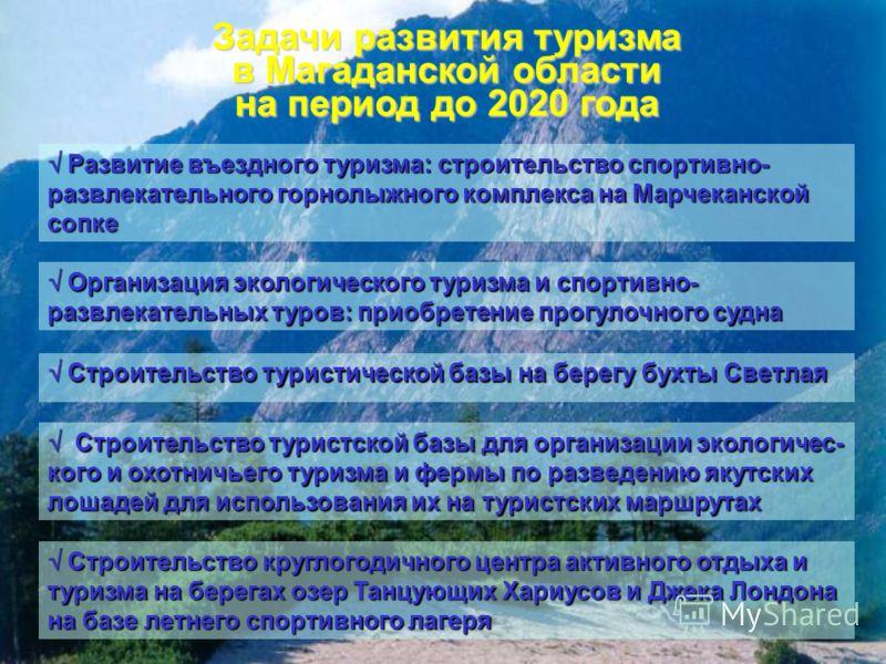 Задачи развития туризма в Магаданской области на период до 2020 года Развитие въездного туризма: строительство спортивно- развлекательного горнолыжного комплекса на Марчеканской сопке Развитие въездного туризма: строительство спортивно- развлекательн