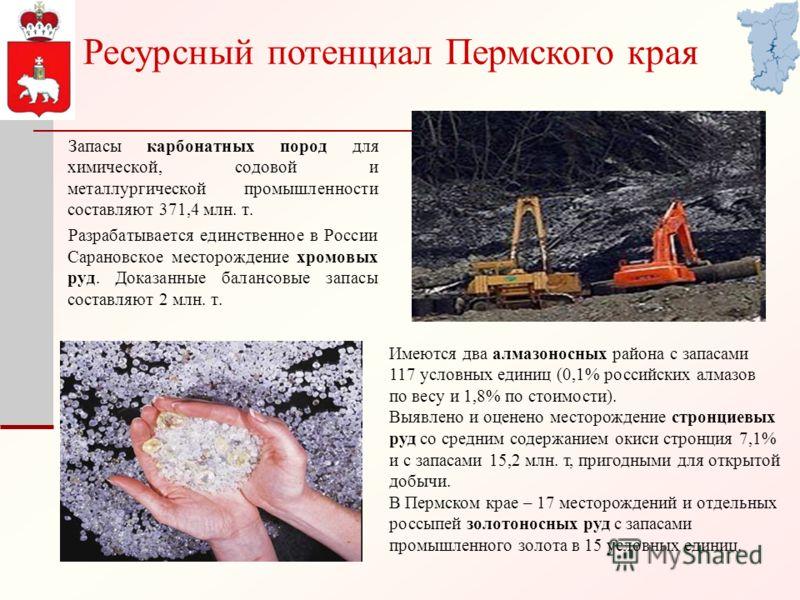 Запасы карбонатных пород для химической, содовой и металлургической промышленности составляют 371,4 млн. т. Разрабатывается единственное в России Сарановское месторождение хромовых руд. Доказанные балансовые запасы составляют 2 млн. т. Имеются два ал
