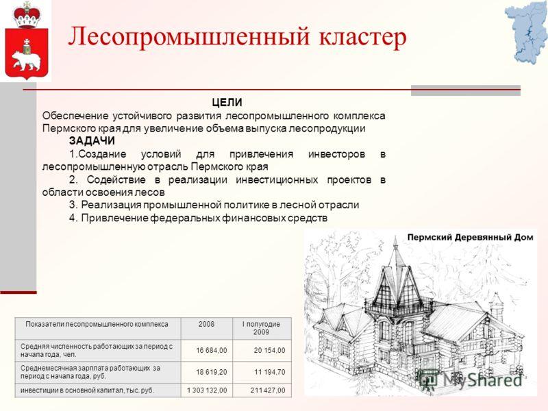 Лесопромышленный кластер ЦЕЛИ Обеспечение устойчивого развития лесопромышленного комплекса Пермского края для увеличение объема выпуска лесопродукции ЗАДАЧИ 1.Создание условий для привлечения инвесторов в лесопромышленную отрасль Пермского края 2. Со