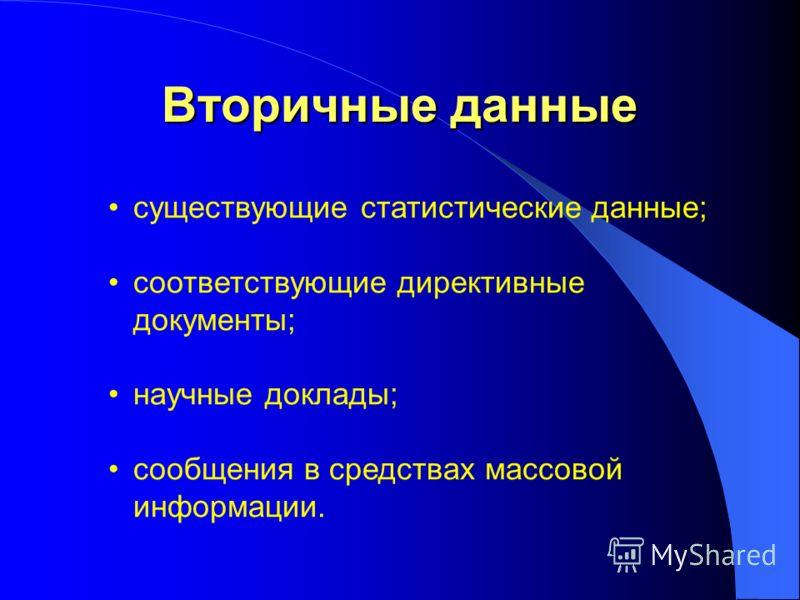 Вторичные данные существующие статистические данные; соответствующие директивные документы; научные доклады; сообщения в средствах массовой информации.