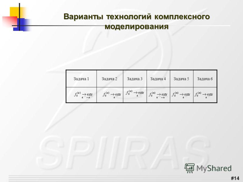 #14 Варианты технологий комплексного моделирования Задача 1Задача 2Задача 3Задача 4Задача 5Задача 6