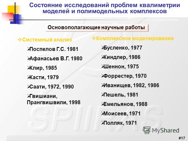 #17 Состояние исследований проблем квалиметрии моделей и полимодельных комплексов Основополагающие научные работы Системный анализ Поспелов Г.С. 1981 Афанасьев В.Г. 1980 Клир, 1985 Касти, 1979 Саати, 1972, 1990 Гвишиани, Прангвишвили, 1998 Комплексно