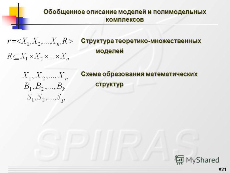 #21 Структура теоретико-множественных моделей Схема образования математических структур Обобщенное описание моделей и полимодельных комплексов