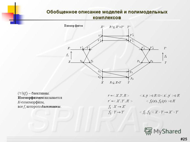 #25 Обобщенное описание моделей и полимодельных комплексов ( i )(f i ) – биективны. Изоморфизмом называется К-гомоморфизм, все f i которого биективны.