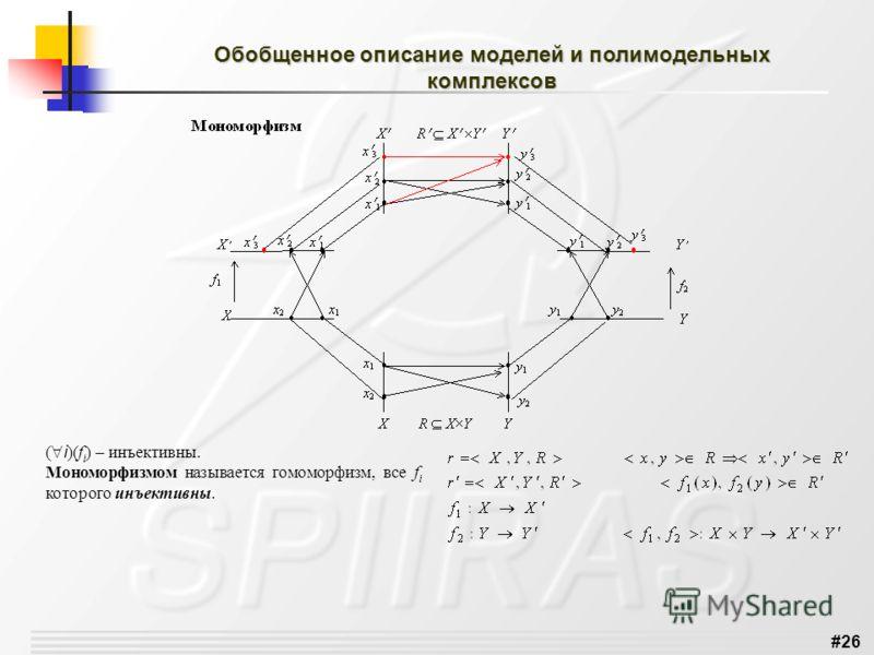 #26 Обобщенное описание моделей и полимодельных комплексов ( i )(f i ) – инъективны. Мономорфизмом называется гомоморфизм, все f i которого инъективны.