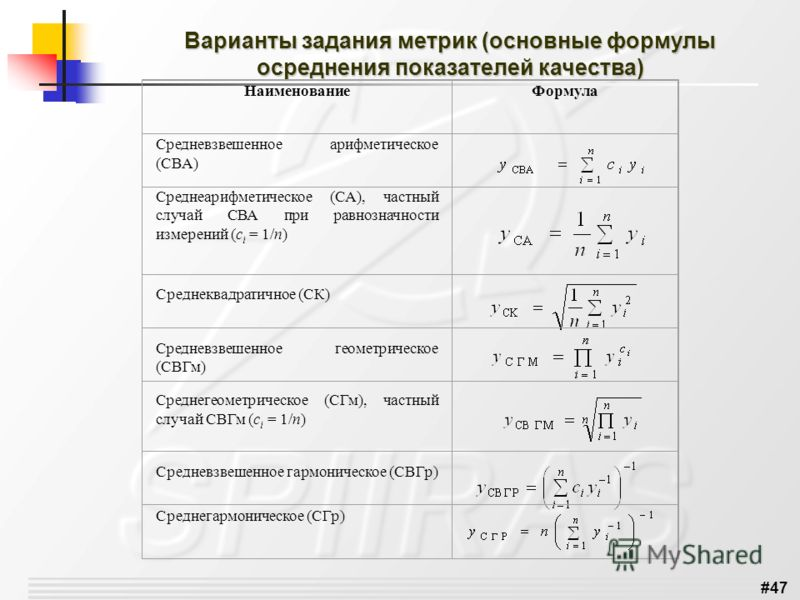 #47 Варианты задания метрик (основные формулы осреднения показателей качества) НаименованиеФормула Средневзвешенное арифметическое (СВА) Среднеарифметическое (СА), частный случай СВА при равнозначности измерений (с i = 1/n) Среднеквадратичное (СК) Ср
