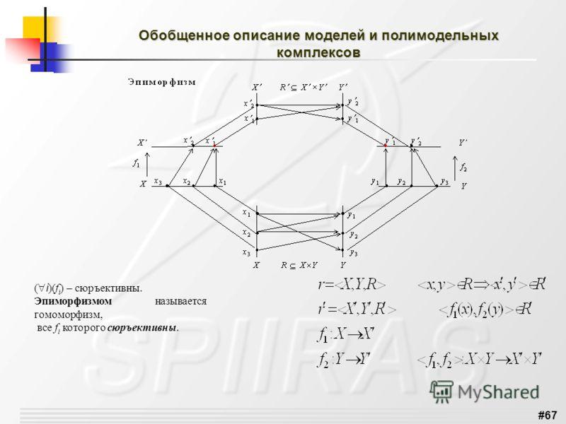 #67 Обобщенное описание моделей и полимодельных комплексов ( i )(f i ) – сюръективны. Эпиморфизмом называется гомоморфизм, все f i которого сюръективны.