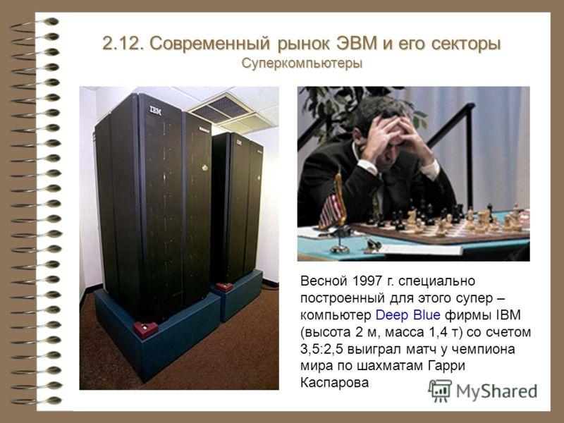 Весной 1997 г. специально построенный для этого супер – компьютер Deep Blue фирмы IBM (высота 2 м, масса 1,4 т) со счетом 3,5:2,5 выиграл матч у чемпиона мира по шахматам Гарри Каспарова