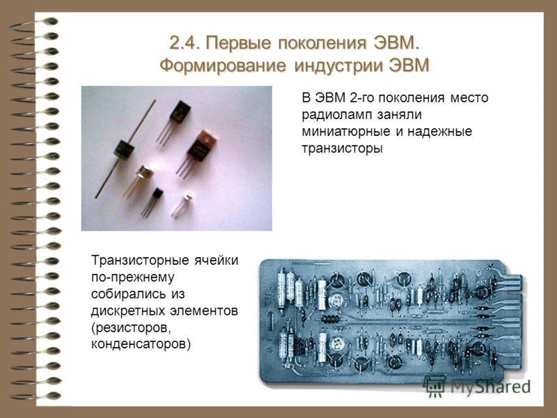 Транзисторные ячейки по-прежнему собирались из дискретных элементов (резисторов, конденсаторов) 2.4. Первые поколения ЭВМ. Формирование индустрии ЭВМ В ЭВМ 2-го поколения место радиоламп заняли миниатюрные и надежные транзисторы