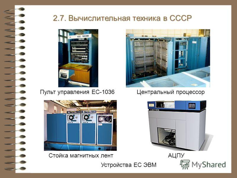 Центральный процессор Стойка магнитных лентАЦПУ Пульт управления ЕС-1036 Устройства ЕС ЭВМ