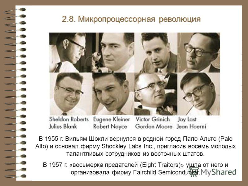 В 1955 г. Вильям Шокли вернулся в родной город Пало Альто (Palo Alto) и основал фирму Shockley Labs Inc., пригласив восемь молодых талантливых сотрудников из восточных штатов. В 1957 г. «восьмерка предателей (Eight Traitors)» ушла от него и организов