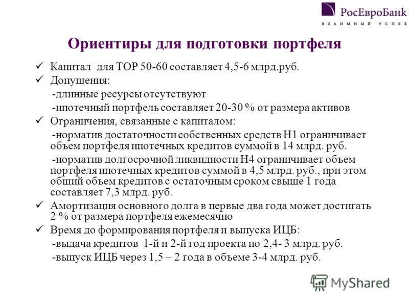 Ориентиры для подготовки портфеля Капитал для TOP 50-60 составляет 4,5-6 млрд.руб. Допущения: -длинные ресурсы отсутствуют -ипотечный портфель составляет 20-30 % от размера активов Ограничения, связанные с капиталом: -норматив достаточности собственн