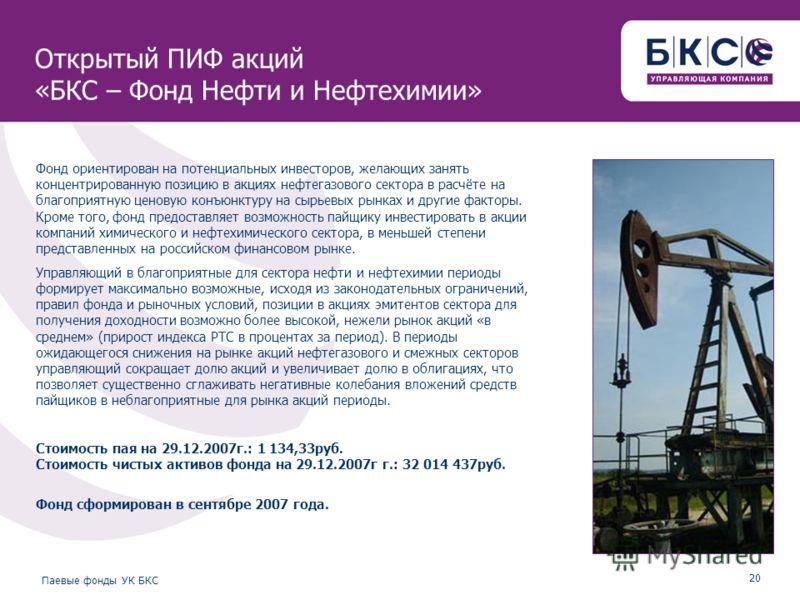 20 Паевые фонды УК БКС Открытый ПИФ акций «БКС – Фонд Нефти и Нефтехимии» Фонд ориентирован на потенциальных инвесторов, желающих занять концентрированную позицию в акциях нефтегазового сектора в расчёте на благоприятную ценовую конъюнктуру на сырьев