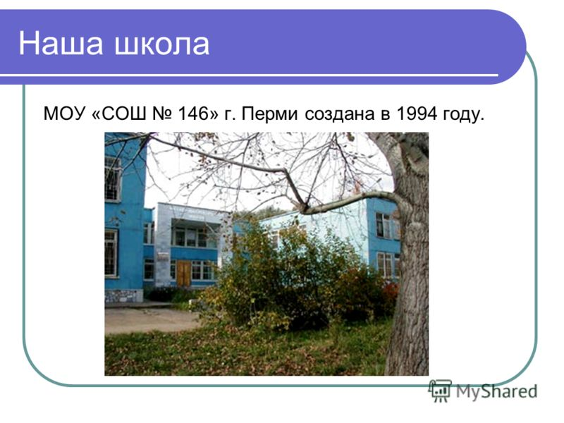 Наша школа МОУ «СОШ 146» г. Перми создана в 1994 году.
