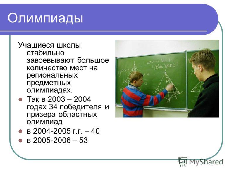 Олимпиады Учащиеся школы стабильно завоевывают большое количество мест на региональных предметных олимпиадах. Так в 2003 – 2004 годах 34 победителя и призера областных олимпиад в 2004-2005 г.г. – 40 в 2005-2006 – 53
