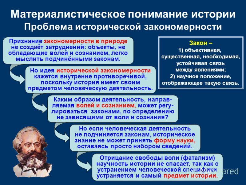 Но идея исторической закономерности кажется внутренне противоречивой, поскольку история имеет своим предметом человеческую деятельность. Но если человеческая деятельность не подчиняется законам, историческое знание не может принять форму науки, остав